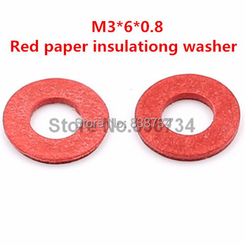 1000pcs m3*6*0.8 flat red paper insulating washer for computer accessories