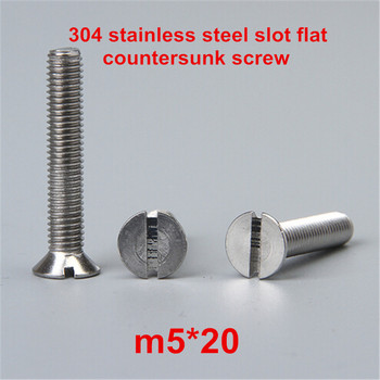100pcs m5*20 304 stainless steel slot / slotted drive flat head countersunk machine screw