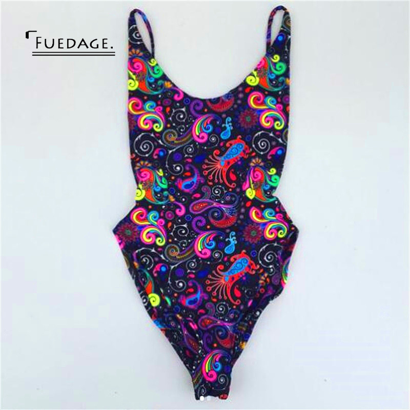 Fuedage Summer Beach Backless Bodysuit Women 2017 New Sexy Spaghetti Strap Short Romper Jumpsuit Club Party Printing Overalls